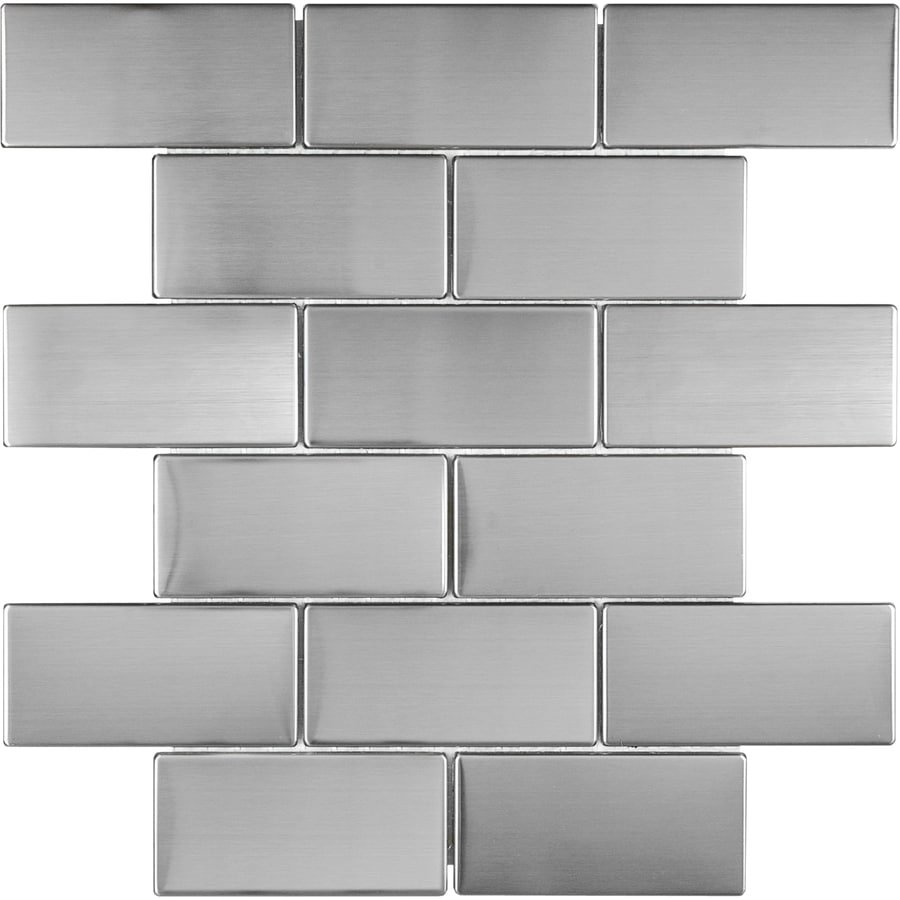Stainless Steel Brick Mosaic Metal Wall Tile (Common: 12-in x 12-