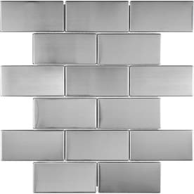 Stainless Steel 12-in x 12-in Metal Brick Mosaic Subway Tile (Common: 12-in x 12-in; Actual: 11.73-in x 9.76-in)