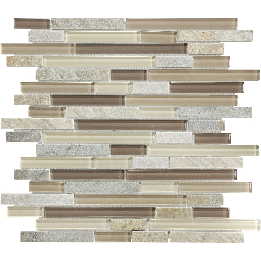 Sample Marble Green Brown Glass Linear Mosaic Tile: Shop Dune Stone And Glass Linear Mosaic Quartz Wall Tile