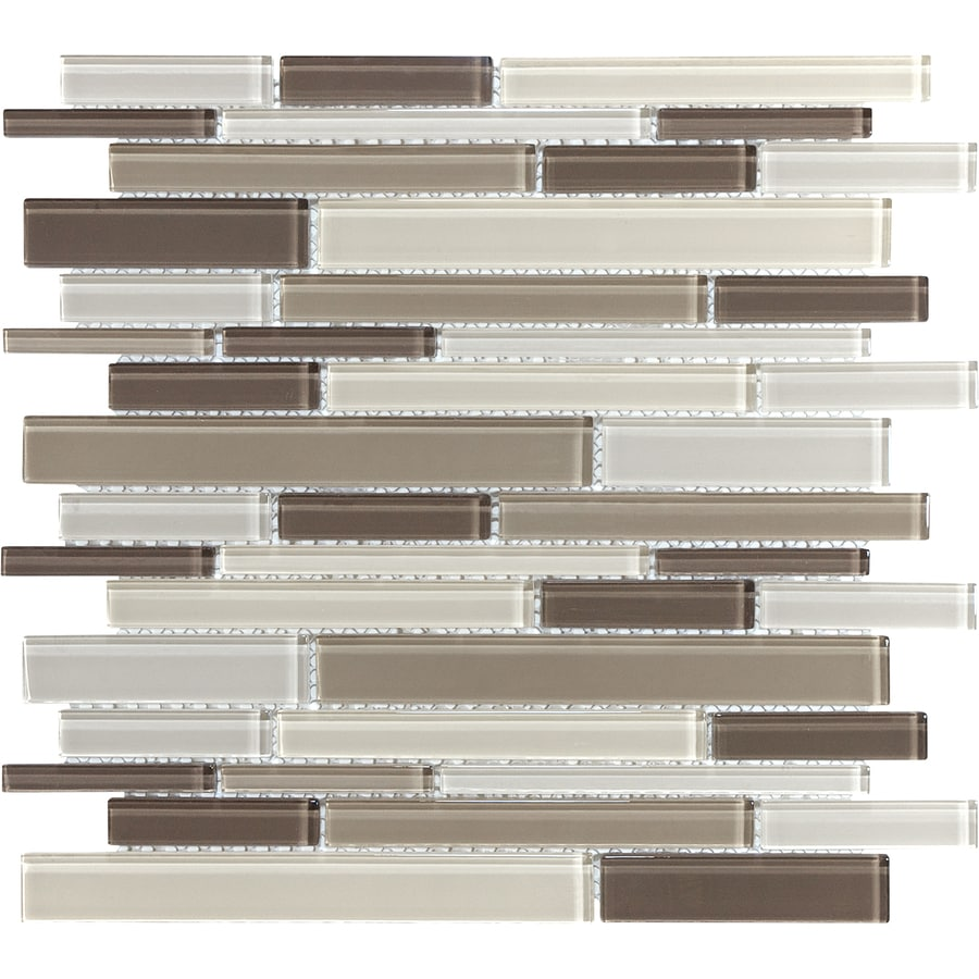 Sample Marble Green Brown Glass Linear Mosaic Tile: Toffee Linear Linear Mosaic Glass Wall Tile (Common: 12-in