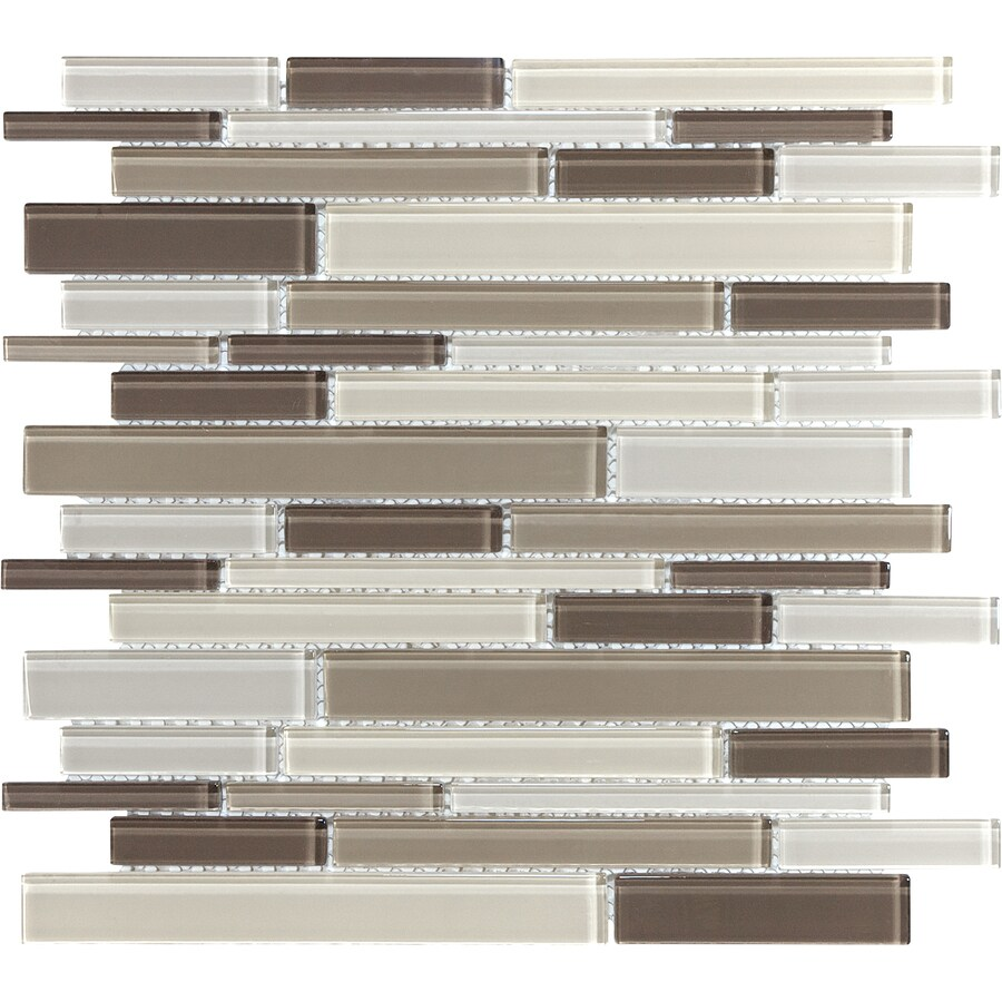Toffee Linear Linear Mosaic Glass Wall Tile (Common: 12-in x 12-in; Actual: 11.87-in x 12-in)