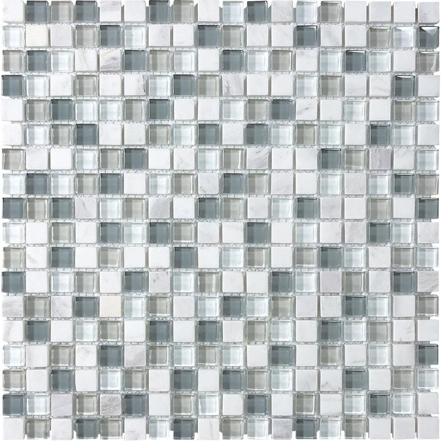 Sample White Glass Stone Metal Linear Glass Mosaic Tile: Shop Allen + Roth Venatino Stone And Glass Uniform Squares
