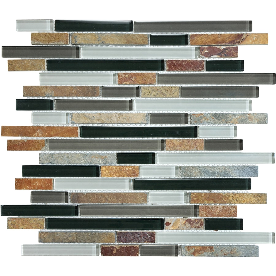Kitchen Backsplash Tile At Lowes: Shop Graphite Stone And Glass Linear Mosaic Wall Tile
