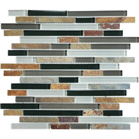 Graphite 12-in x 12-in Stone And Glass Linear Mosaic Wall Tile (Common: 12-in x 12-in; Actual: 12-in x 11.88-in)