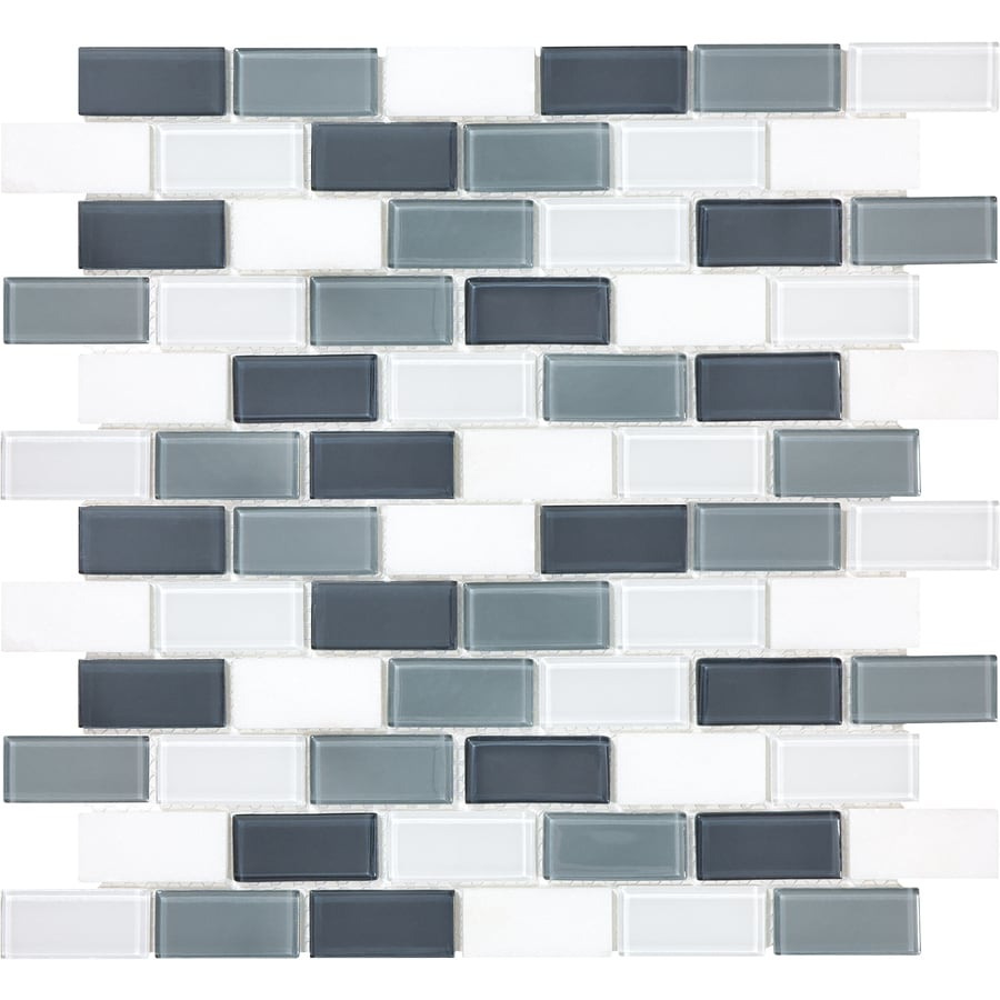 Style Selections 12-in x 12-in Gray Mosaic Subway Wall Tile (Actuals 12-in x 13-in)