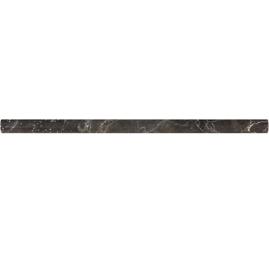 allen + roth Emperador Espresso Marble Pencil Liner Tile (Common: 5/8-in x 12-in; Actual: 0.62-in x 12-in)