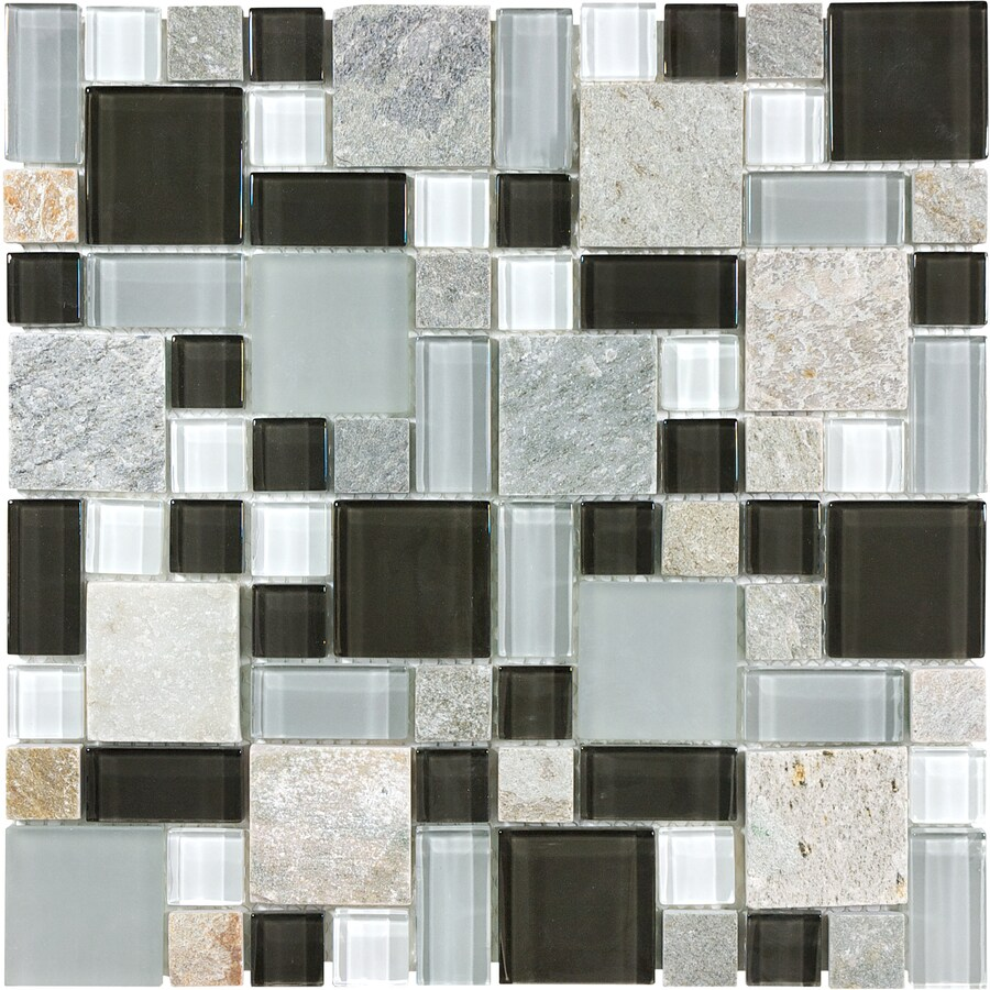 Shop Anatolia Tile Cool Spring Mixed Pattern Mosaic Stone and Glass ...