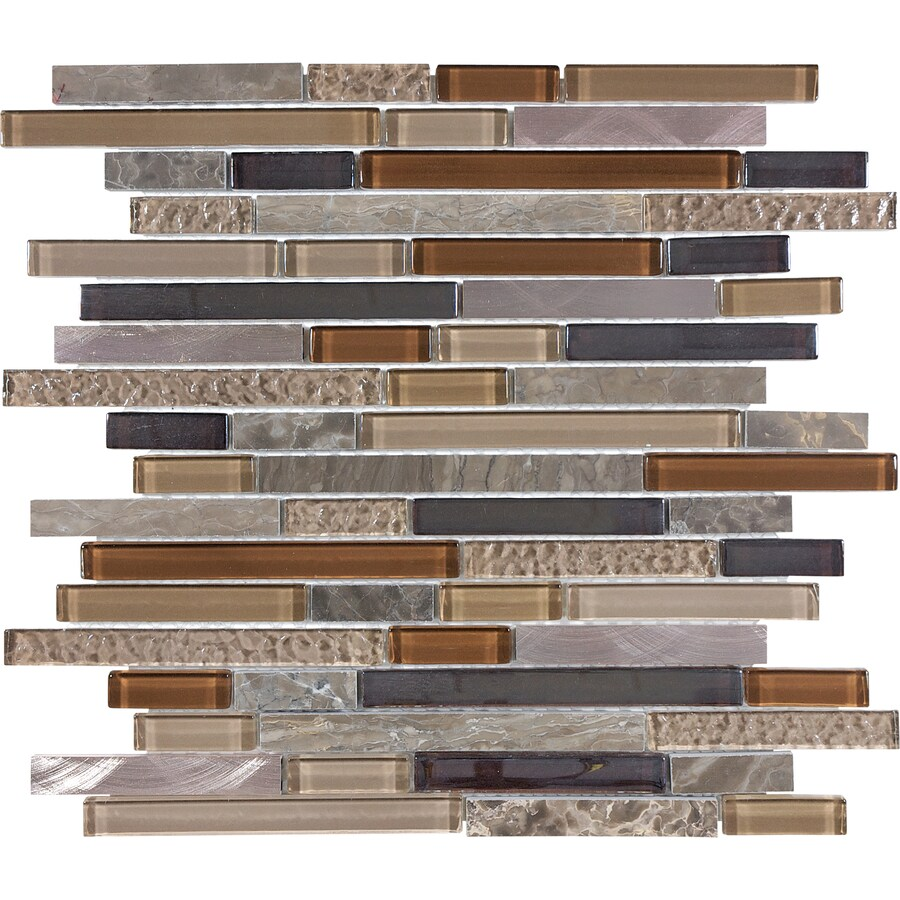 Anatolia Tile Copper Mountain Linear Mosaic Glass Metal Stone Wall Tile Common 12 In X 12 In Actual 11 65 In X 11 88 In In The Tile Department At Lowes Com
