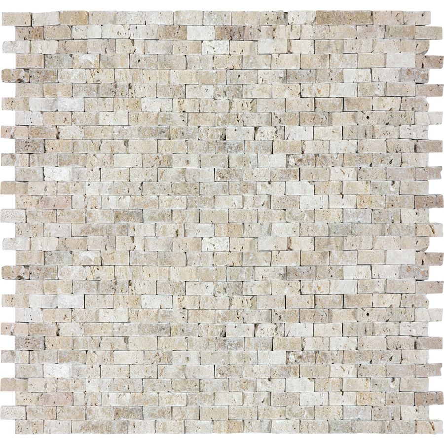 Shop Anatolia Tile Split Face Beige Travertine Mosaic Wall