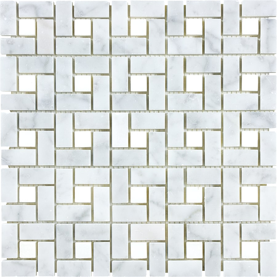 Shop Anatolia Tile Carrara Pinwheel Basketweave Mosaic Marble Wall ...