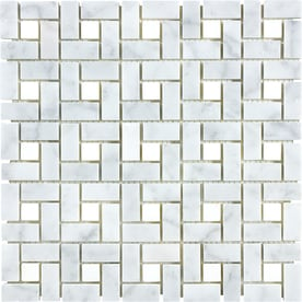 anatolia tile carrara pinwheel basketweave mosaic marble wall tile common 12in x