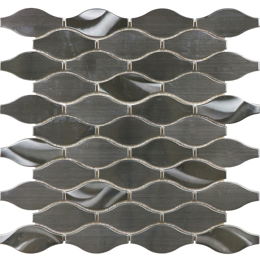 allen + roth Metal Twist Wave Mosaic Stainless Steel Wall Tile (Common: 12-