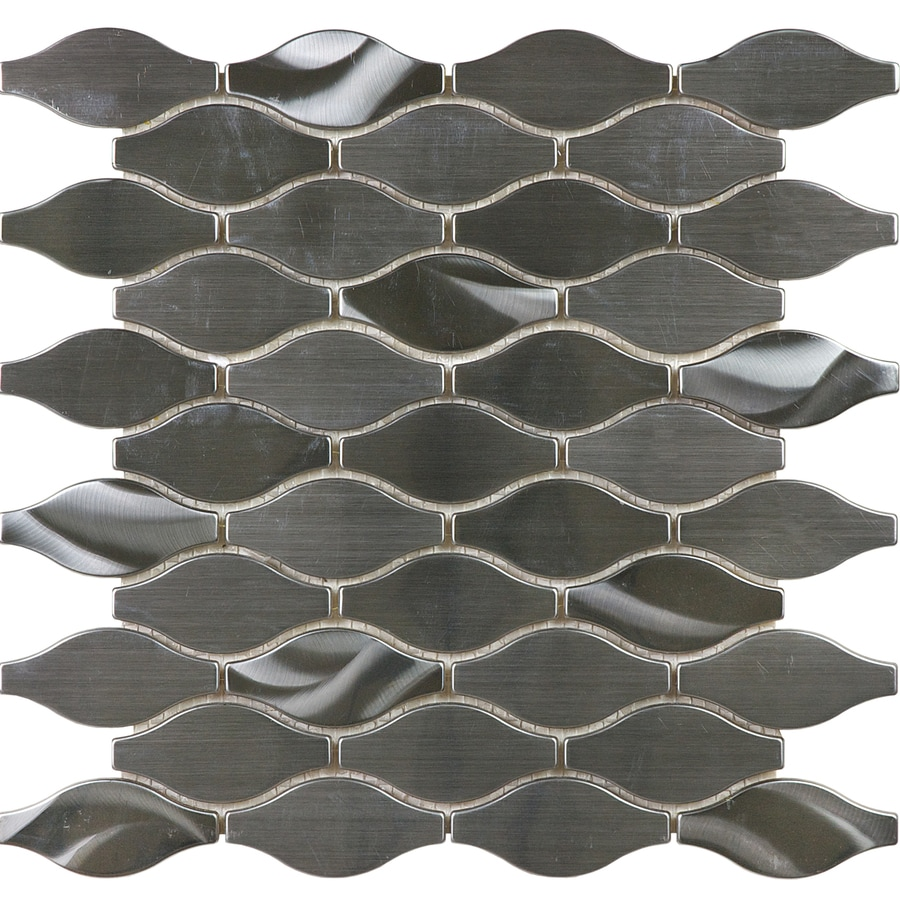 Shop Allen Roth Metal Twist Wave Mosaic Stainless Steel