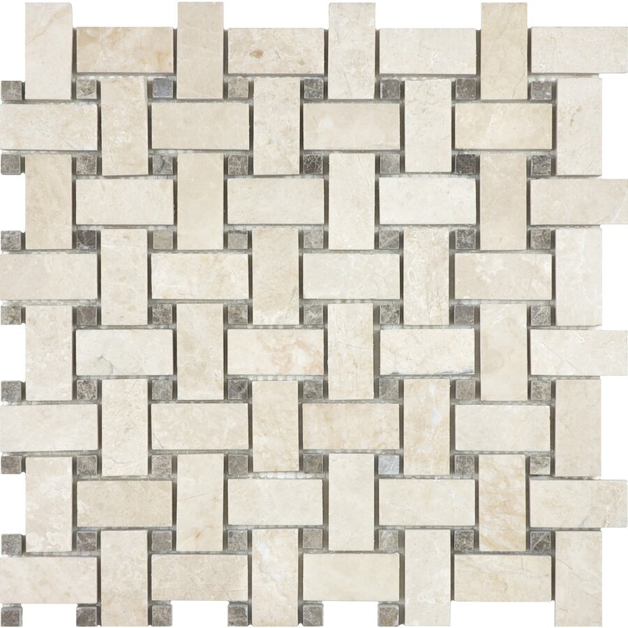 allen + roth Crema Luna Polished Basketweave Mosaic Marble Wall Tile (Common: 12-in x 12-in; Actual: 12-in x 12-in)