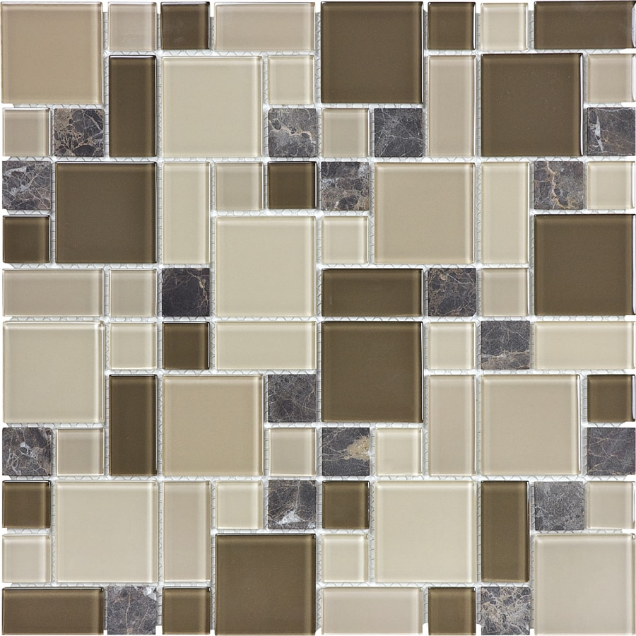 Cappuccino bathroom tiles - Anatolia Tile Cappuccino Mixed Material Stone And Glass Mosaic Random Wall Tile Common