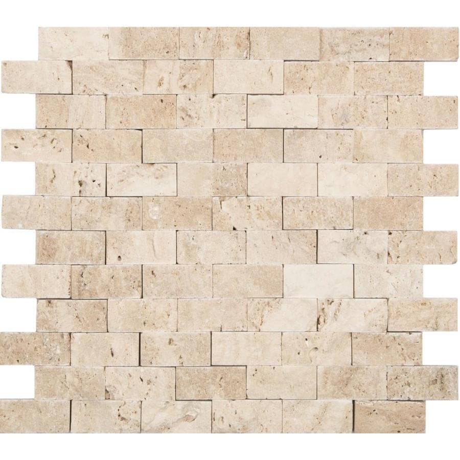 Shop Anatolia Tile Ivory Brick Mosaic Travertine Subway Tile (Common ...