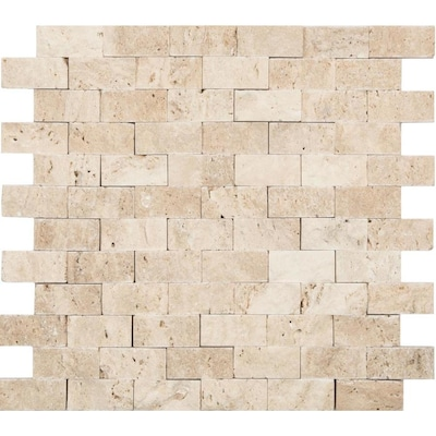 Ivory 12 In X Brick Mosaic Travertine Subway Split Face Wall Tile Common Actual 11 53 02