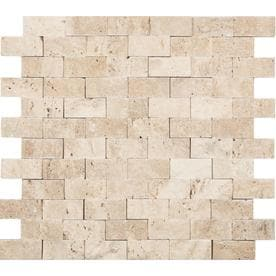 Anatolia Tile Ivory Brick Mosaic Travertine Subway Common 12 In X