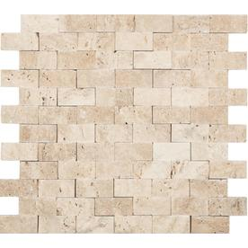 Anatolia Tile Ivory Brick Mosaic Travertine Subway Wall Common 12 In X