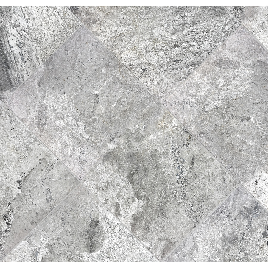 Anatolia Tile 4-Pack Studio Silver Marble Floor and Wall Tile (Common: 12-in x 24-in; Actual: 12-in x 24-in)