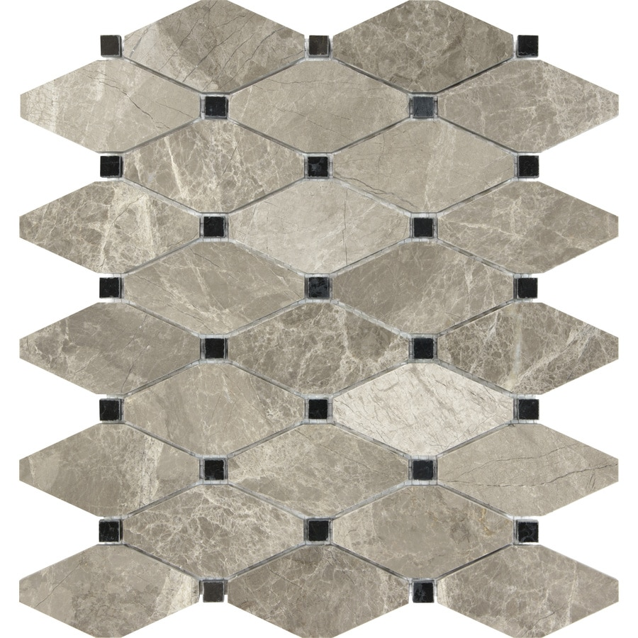 Anatolia Tile Silver Creek Diamond Mosaic Marble Wall Tile (Common: 12-in x 10-in; Actual: 12-in x 10.39-in)