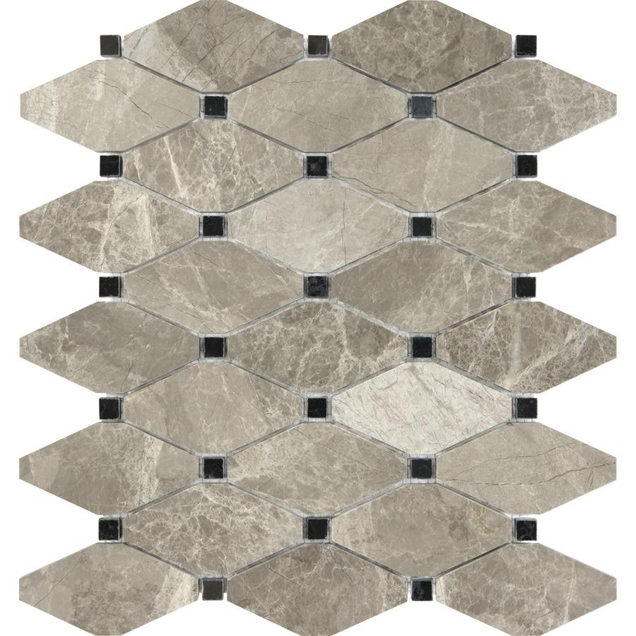Shop Anatolia Tile Silver Creek Diamond Mosaic Marble Wall Tile ...