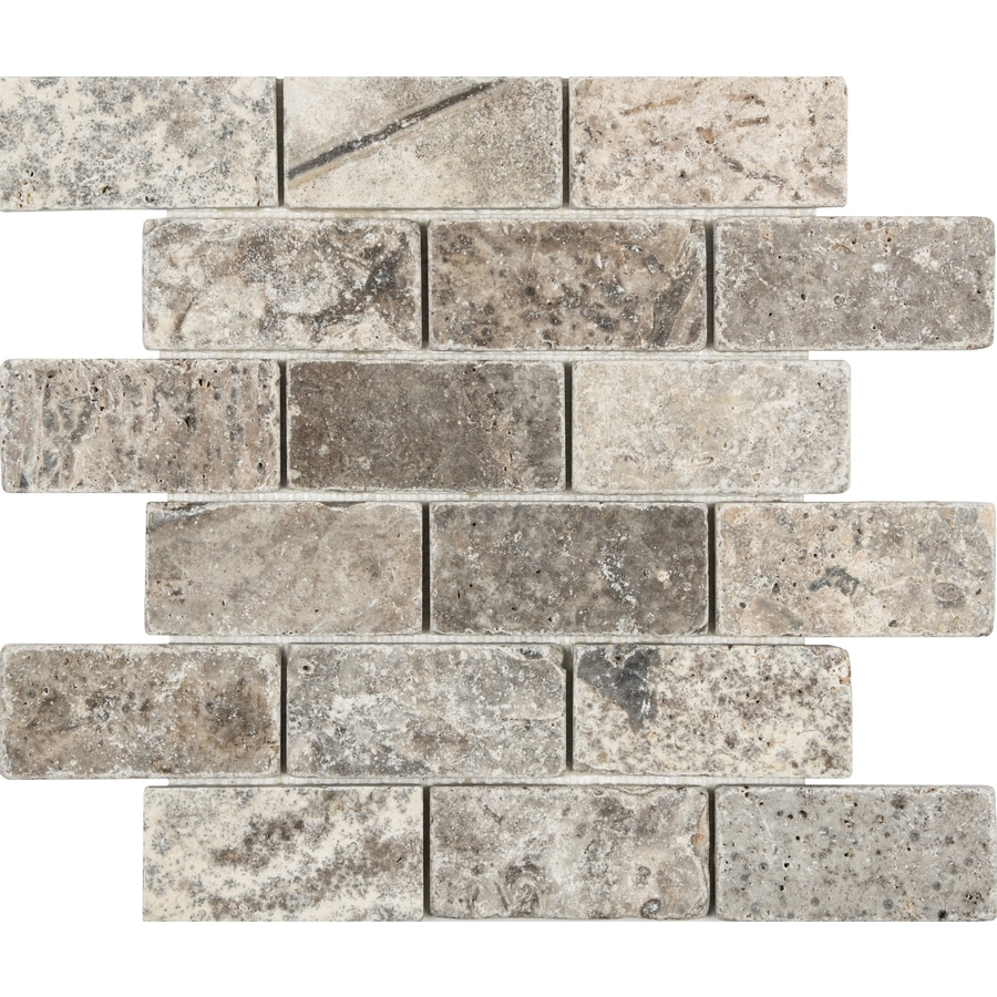 Anatolia Tile Silver Crescent Brick Mosaic Travertine Wall Tile (Common: 12-in x 12-in; Actual: 12-in x 12-in)