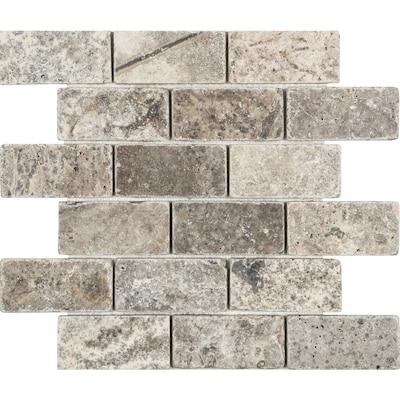 Silver Crescent 12 In X Brick Mosaic Travertine Subway Tile Common Actual