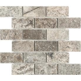 Anatolia Tile Silver Crescent 12-in x 12-in Brick Mosaic Travertine Subway Tile (Common: 12-in x 12-in; Actual: 12-in x 12-in)
