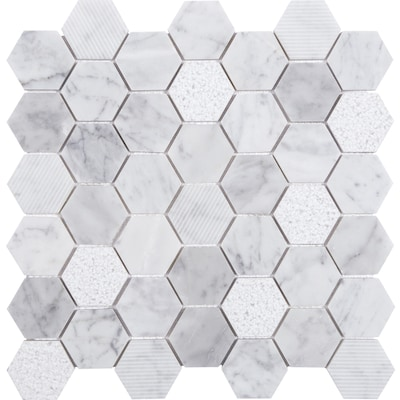 Carrara 12 In X Honeycomb Marble Mosaic Wall Tile Common Actual 11 88 73