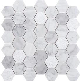 Anatolia Tile Carrara 12-in x 12-in Honeycomb Marble Mosaic Wall Tile (Common: 12-in x 12-in; Actual: 11.88-in x 11.73-in)