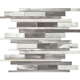 Anatolia Tile Sleek Ice 12-in x 12-in Metal and Stone Linear Mosaic Wall Tile (Common: 12-in x 12-in; Actual: 12.2-in x 11.73-in)