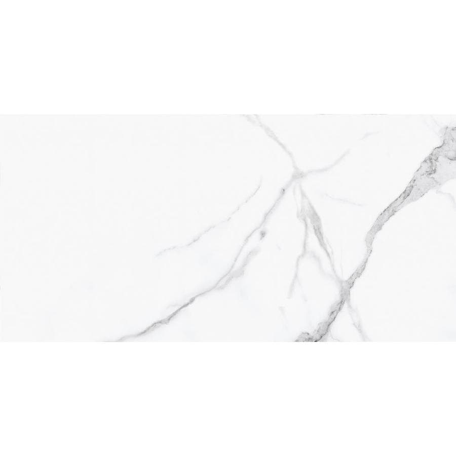 Anatolia Tile Statuario Polished Porcelain Floor Tile (Common: 12-in x 24-in; Actual: 23.62-in x 11.81-in)