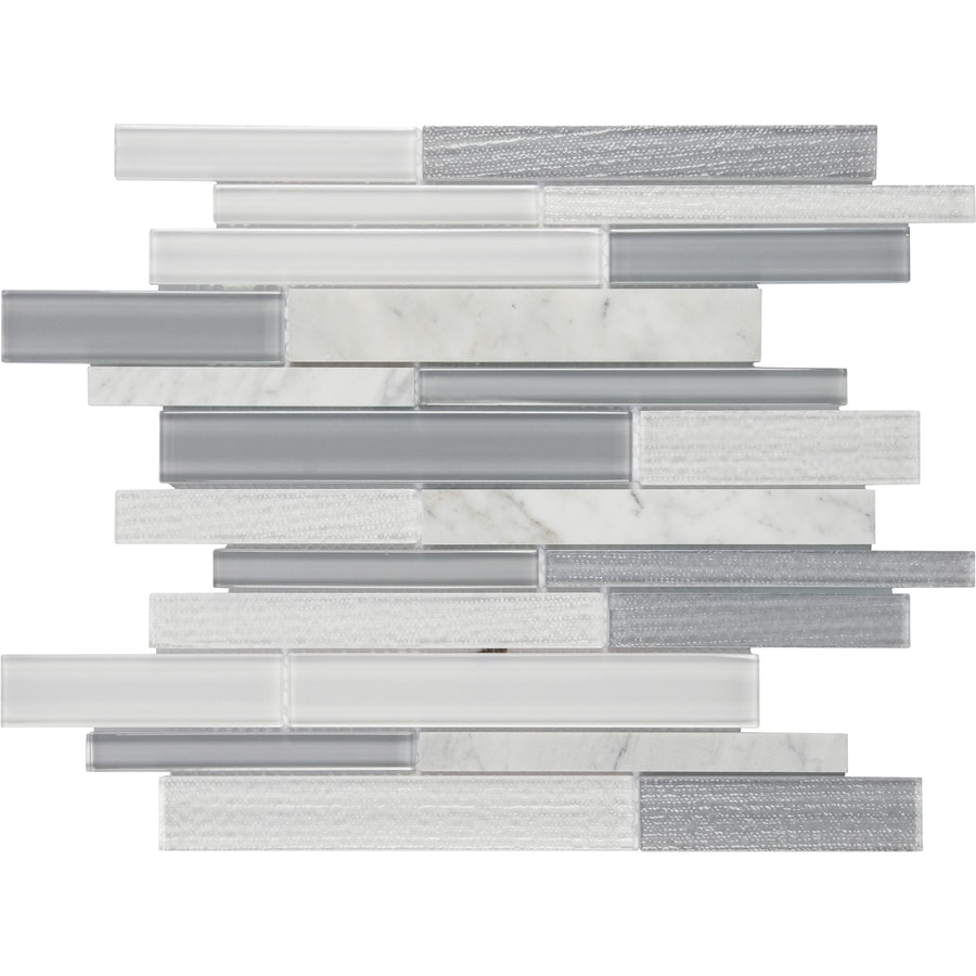 anatolia tile mystique winter linear mosaic stone and glass marble wall tile common 12
