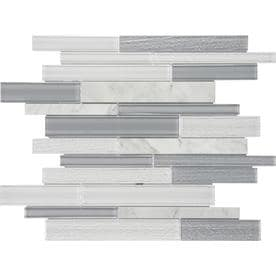 Anatolia Tile Mystique Winter 12-in x 12-in Stone And Glass Linear Marble Mosaic Wall Tile (Common: 12-in x 12-in; Actual: 11.73-in x 11.26-in)