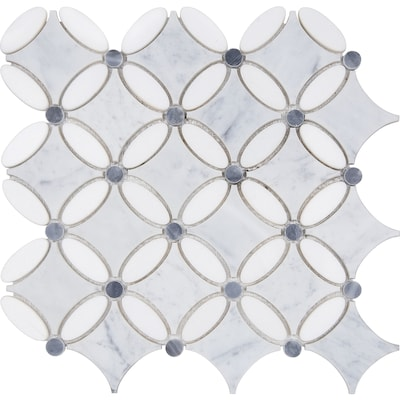 Flower 12 In X Marble Mosaic Tile Common Actual 11 41