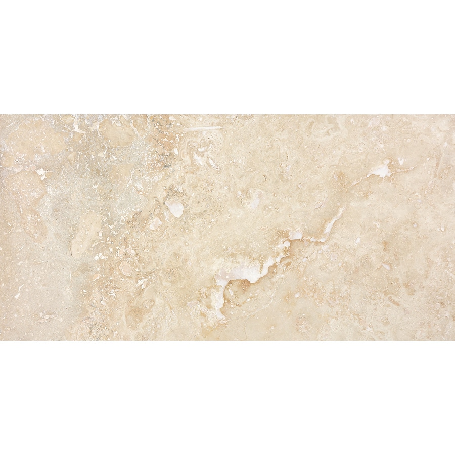 Anatolia Tile Ivory Travertine Floor Tile (Common: 12-in x 24-in; Actual: 12-in x 24-in)