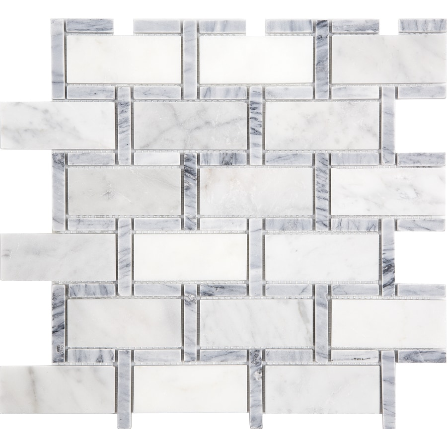 Shop anatolia tile carrara grigio brick mosaic marble subway tile anatolia tile carrara grigio brick mosaic marble subway tile common 12 in x dailygadgetfo Choice Image