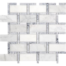 Anatolia Tile Carrara Grigio 12-in x 12-in Brick Marble Mosaic Subway Tile (Common: 12-in x 12-in; Actual: 11.73-in x 11.73-in)