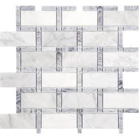 Anatolia Tile Carrara Grigio 12-in x 12-in Brick Marble Mosaic Subway Tile (Common: 12-in x 12-in; Actual: 11.73-in x 11.73-in)