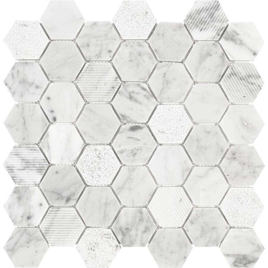 Anatolia Tile Carrara Honeycomb Mosaic Marble Tile Sample
