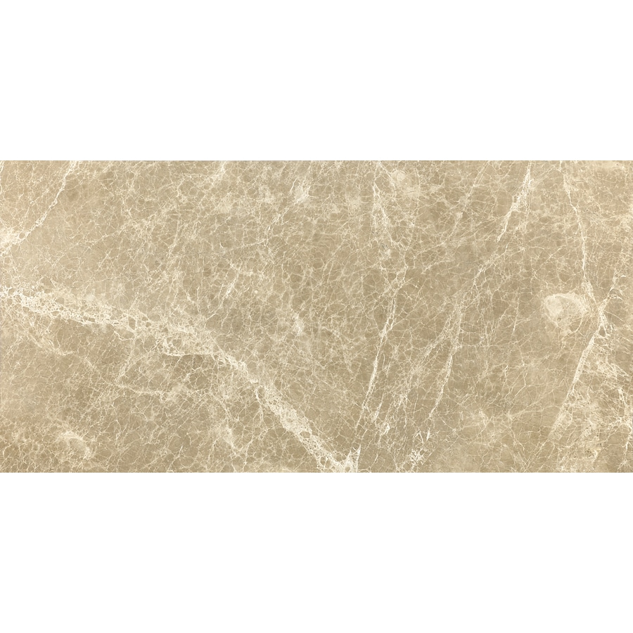 Anatolia Tile 4-Pack Polished Emperador Light Marble Floor and Wall Tile (Common: 12-in x 24-in; Actual: 12-in x 24-in)