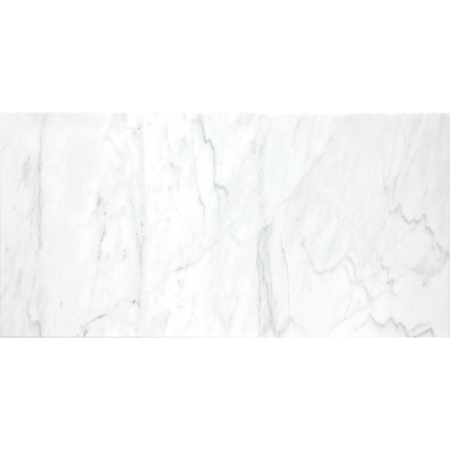 Anatolia Tile 4-Pack Polished White Venatino Marble Floor and Wall Tile (Common: 12-in x 24-in; Actual: 12-in x 24-in)