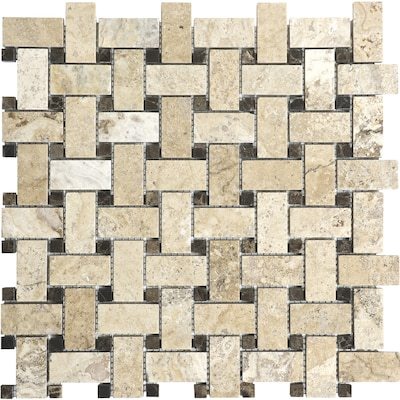 Pablo 12 In X Basketweave Mosaic Travertine Wall Tile Common Actual