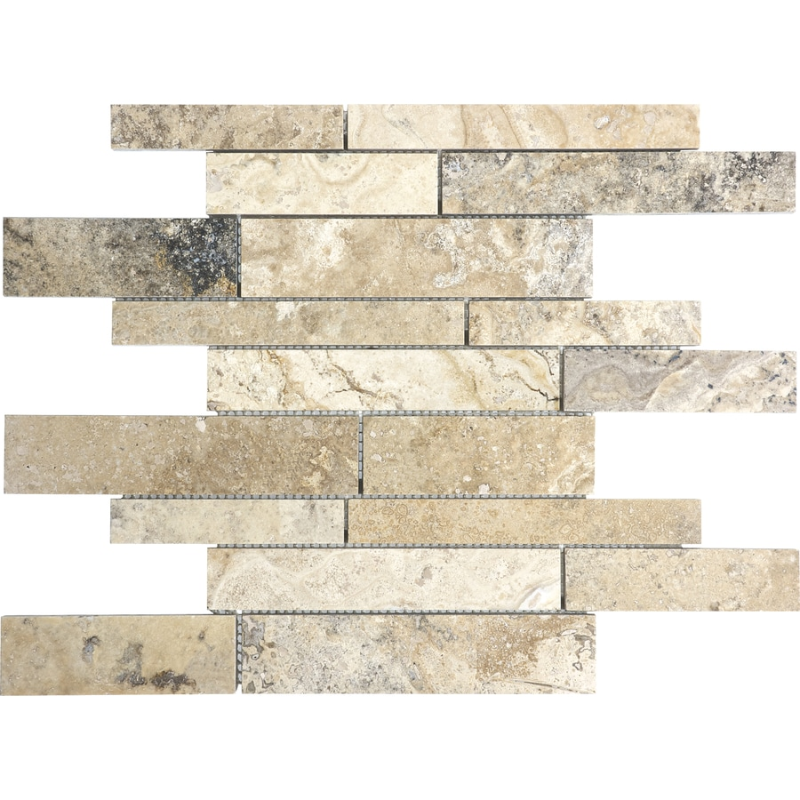 Anatolia Tile Pablo Linear Mosaic Travertine Wall Tile (Common: 12-in x 12-in; Actual: 12-in x 12-in)