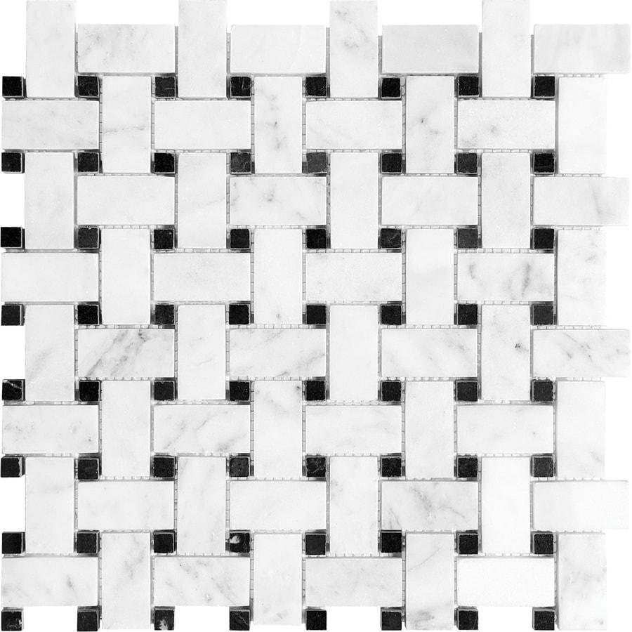 Shop Anatolia Tile Venatino Basketweave Mosaic Marble Floor And Wall ...