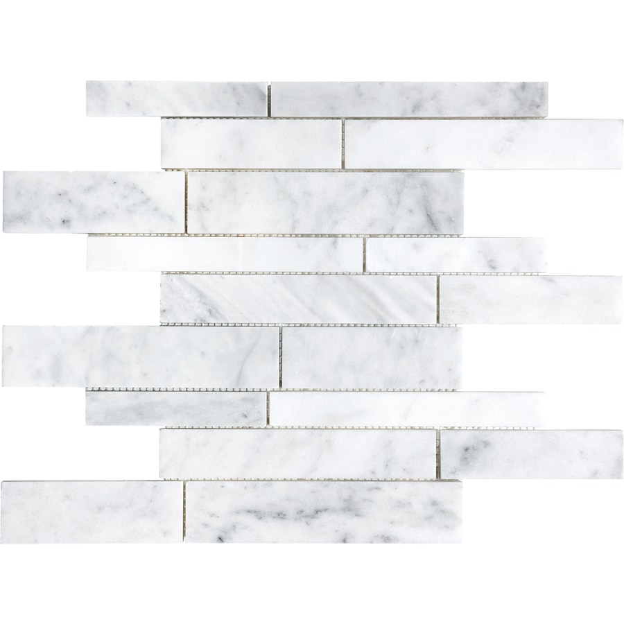 Shop Anatolia Tile White Venatino Linear Marble Mosaic Wall Tile ...