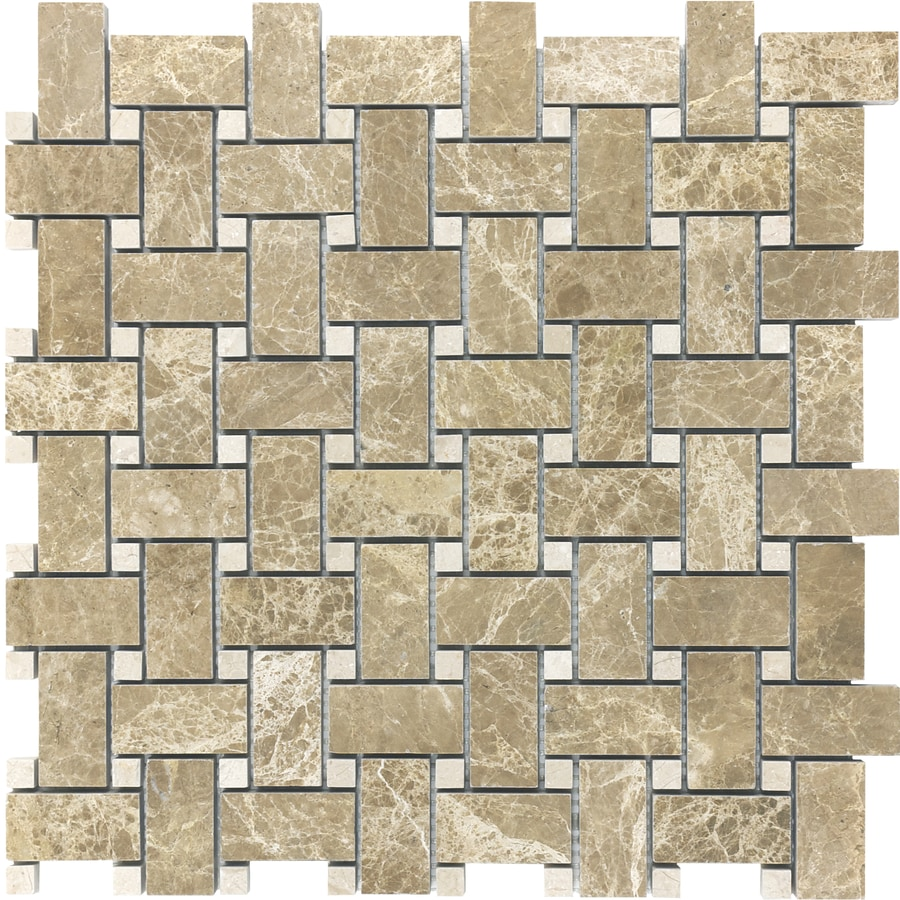 anatolia tile emperador light basketweave mosaic marble wall tile common 12in x