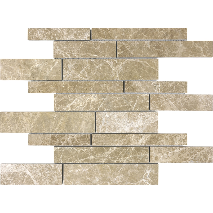 Anatolia Tile Emperador Light Linear Mosaic Marble Wall Tile (Common: 12-in x 12-in; Actual: 12-in x 12-in)