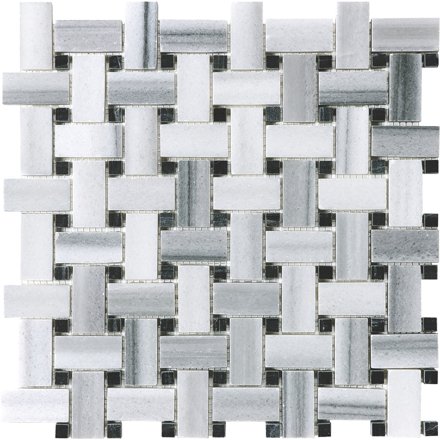 Anatolia Tile Annex Grigio Basketweave Mosaic Marble Wall Tile (Common: 12-in x 12-in; Actual: 12-in x 12-in)